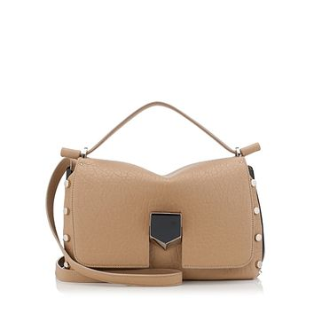 Jimmy Choo Women's Beige Grainy Leather Tan Leather Satchel Handbag GLQ187