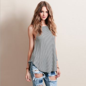 Stripe Sleeveless Curved Hem Camisole