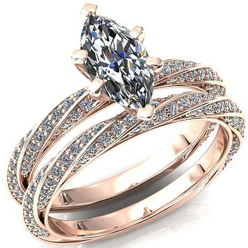 Elysia Marquise Moissanite 6 Prong 3/4 Eternity Diamond Accent Ring
