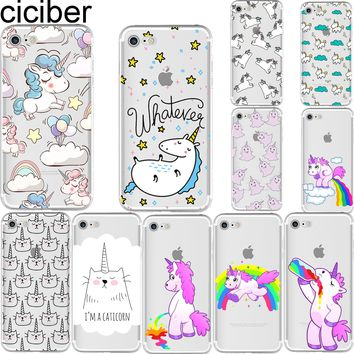 ciciber Cute Unicorn Hippo Rainbow Horse Pattern Soft Silicon Case Cover for IPhone 6 6S 7 8 Plus 5 5S SE X Capinha Coque Capa