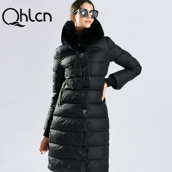 QHLCN 2016 Womens Winter Down Jackets And Coats Medium Length Women Rabbit Fur Warm Female thickening Warm Parka Hood Over Coat