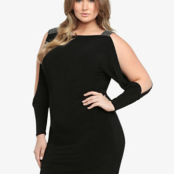 Slit Sleeve Gemstone Dress