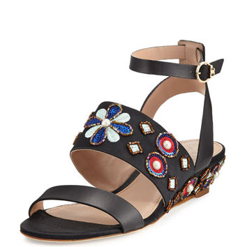 Tory Burch Estella Beaded Demi-Wedge Sandal, Black