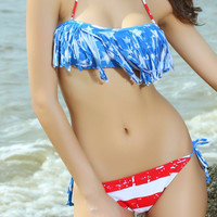 Red and Blue American Flag Fringed Bikini