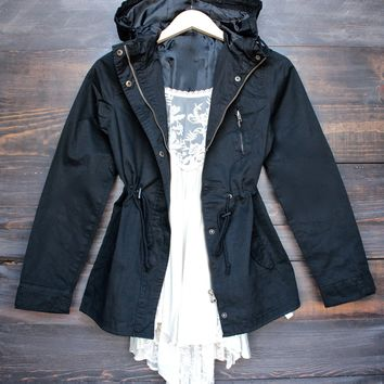 womens hooded utility parka jacket with drawstring waist in black
