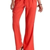 Neon Coral Smocked-Waist Linen Pants by Charlotte Russe