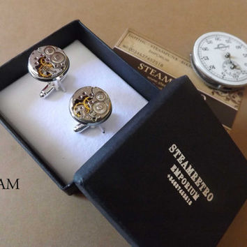 Gift Boxed Mens Steampunk - Steampunk Cufflinks 16mm round vintage Chaika watch movements. Vintage upcycled mens Cuff Links