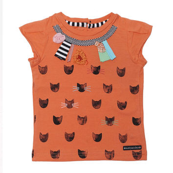 Deux Par Deux Catwalk Printed Cat T-Shirt Orange