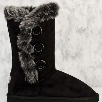 Black Triple Button Accent Faux Fur Detailing Boots Faux Suede