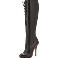 Christian Louboutin Lamadonne Calfskin Laced Knee Boot, Black