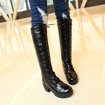 Soft Leather Lace Up Chunky Heel Tall Motorcycle Boots for Women 4045