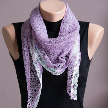 Scarf, Purple-Pink Summer Spring Scarf,Lightweight Shawl,Scarves For Women,Fashion Accessories,Womens Scarves,Lace And Sequins Scarf,Gift