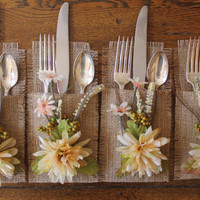 Burlap Silverware Holders Flowers and Leaves Cream & Green, Set of 4