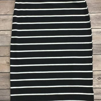 Striped Pencil Skirt: Black