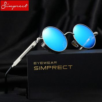 SIMPRECT 2018 Steampunk Sunglasses Men Polarized Round Mirror Vintage Sun Glasses UV400 High Quality Lunette De Soleil Homme