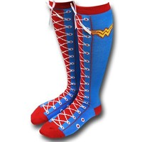 Wonder Woman Faux Lace-Up Socks