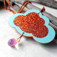 Sunset cloud necklace glitter orange and sky blue