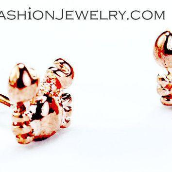 Cute Little Crab Sea Animal Stud Earrings Rose Gold Tone Small Fashion Jewelry