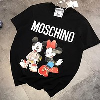 MOSCHINO x Disney Summer Women Men Loose Mickey Mouse Print Cotton T-Shirt Top Blouse