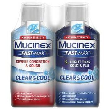 MUCINEX® FAST-MAX® Clear & Cool Adult Liquid - Day Night Severe Congestion & Cough/Cold & Flu 2x6 oz.