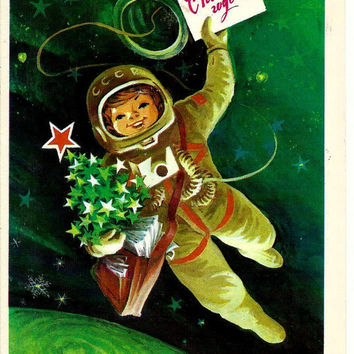 Happy New Year - Astronaut - Soviet Vintage Postcard print 1979