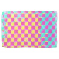 Grungy Lemonberry Mint Checkerboard Pattern Kitchen Towel