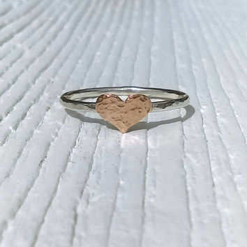 Rose Gold Heart Ring, Gold Ring, Stacking Ring, Hammered Heart Ring, Devotion Ring, Promise Ring, Country Romance, Rustic, Boho Jewelry