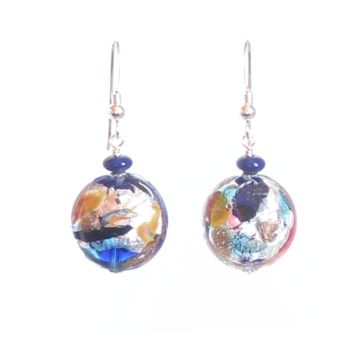 Colorful Murano Glass Blue Copper Disc Silver Earrings