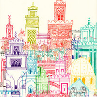 Marrakech Towers Art Print by Cheism | Society6