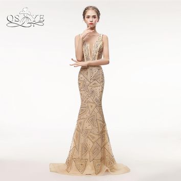 QSYYE Luxury Champagne Beading Long Prom Dresses 2018 Sexy Mermaid V Neck Backless Formal Evening Dresses Party Gown Custom