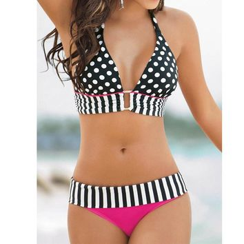 Women Swimwear Bikini Set Bandeau Push-Up Padded Bra Swimsuit
