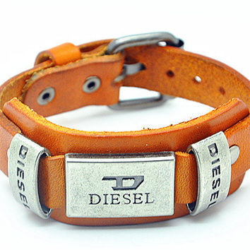 Orange Leather Bracelet Diesel Bracelet Women Leather Cuff Bracelet Men Leather Bracelet Cuff  RZ0041