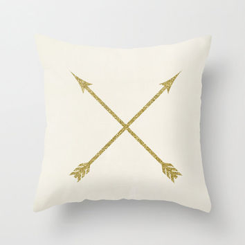 Decorative Pillows - Gold Arrow Velveteen Pillow - Gold Pillow - Gold Pillow Cover -  Gold Cushion Cover - Gift Idea for Her - Gift Idea