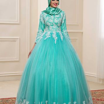 2017 Muslim Wedding Dresses With Hijab High Neck 3/4 Sleeves Mint Color Bridal Kaftan Gown Islamic Plus Size Bride Dress Dubai