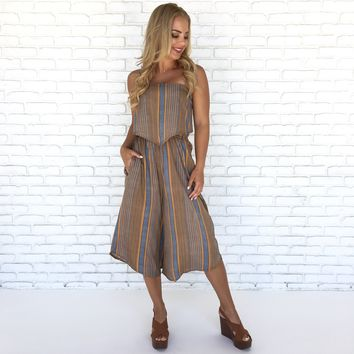 Doheny Wide Leg Stripe Jumpsuit