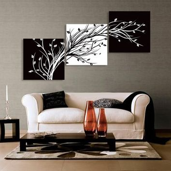 Abstract the Black and White Flowers Decorative Painting Plum Is the Wind Canvas Modern Art of Three Piece with No Inside Frame and No Outside Frame