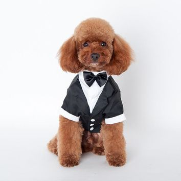 New Pet Dog Puppy Cat Tuxedo Bow Tie  Wedding Suit Costumes Coat S-XXL