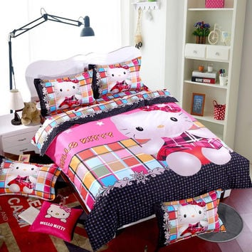 Lovely hello kitty bedding set, family Home textiles, 3/4 pcs bed clothes, bedlinen, pink color, fast shipping!