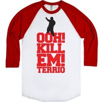 Oh Kill Em Terrio-Unisex White/Red T-Shirt