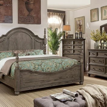 5 pc Audrey collection wire brushed gray finish wood queen poster bedroom set