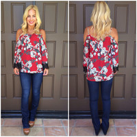 Tuberose Off Shoulder Top - BURGUNDY