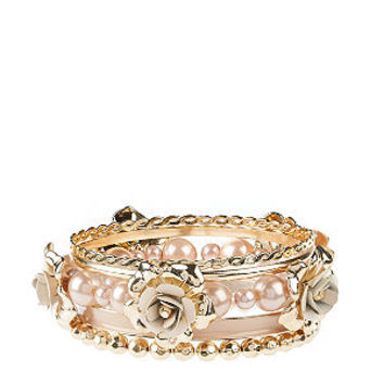 Pink Rose and Pearl Embellished Bangle