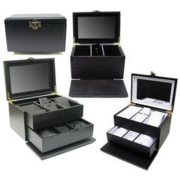 DS-137 Swing Latch Black Hardwood Jewelry Box