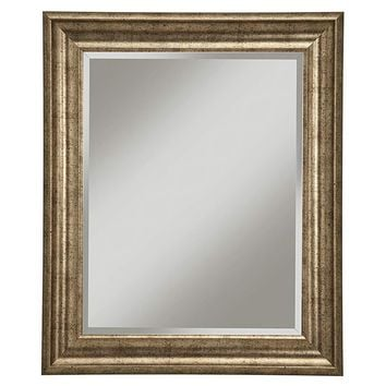 Polystyrene Framed Wall Mirror With Beveled Glass, Antique Gold