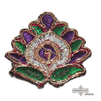 Indian Craft Applique Handmade Fabric Floral Design Green Home Décor Patches 10 Pcs AP/W/34 Free Shipping