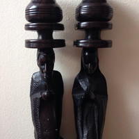 large and beautiful hand carved Ebony wood African candle holder (42cm)