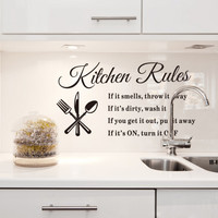 DIY Removable Wall Stickers Kitchen Rules Decal Home House Accessories Beautiful Pattern Design Decoration PVC vinyl art wall