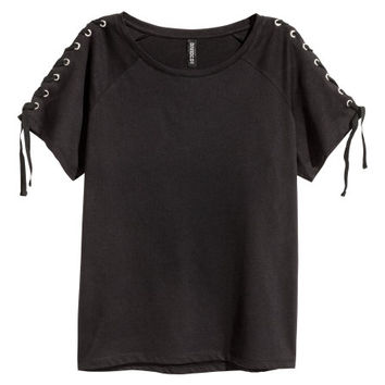 Jersey Top with Lacing - from H&M