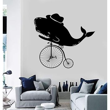 Vinyl Wall Decal Vintage Whale Velocipede Old Bicycle Stickers Unique Gift (ig4039)