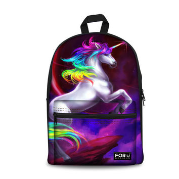 FORUDESIGNS Fashion Unicorn Printing Canvas Backpacks For Summer,Teen Girl Canvas Backpack Multi-functional Women Cotton mochila